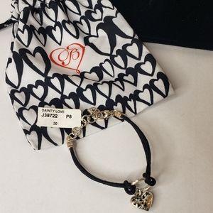 Brighton Heart Flower Charm Leather Bracelet